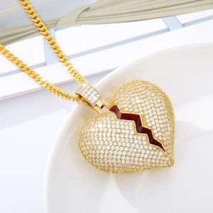 Цепи Горный Хрусталь разбитое сердце Длинное ожерелье из нержавеющей стали Золотая цепная цепь кулон хип-хоп ожерелья украшения подарок