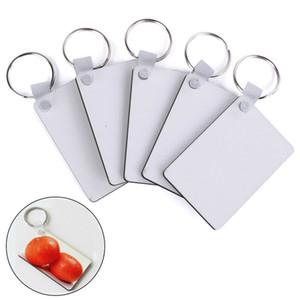Sublimation Blank Keychain MDF-Platz aus Holz Key-Anhänger Thermotransfer Doppelseitige Schlüsselanhänger Weiß DIY Geschenk 60 * 40 * 3mm Keychain KH706
