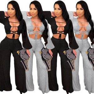 Women Two Piece Jogging Suits Sexy Solid Color Lace Up Low Bossom Two Piece Straight Pants Set Women Designer Clothes 2020