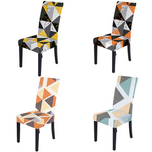 Chair Cover online Elegant style 3D Digital Print slipcover geometric pattern Polyester Fabric Chair Covers for Dining Room