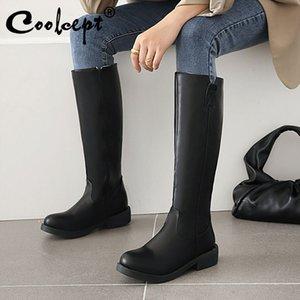 Coolcept Women Knee High Boots Zipper Flat Heel Women Winter Long Boots Fashion Winter Shoes Footwear Size 35-43