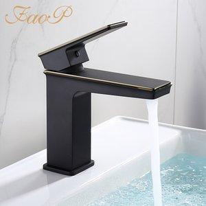 FAOP Bassin-Hahn-Luxus Schwarz Badezimmerhahn Mischbatterien Messing Waschbecken Becken Mischbatterie torneira anheiro zu tun