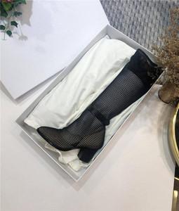 New Outono / Inverno malha respirável botas de salto alto para as mulheres, elegante e botas grossas joelho confortáveis embalagem original