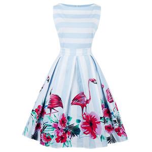 Plus Size Autumn Women Vintage Dress Retro 50s 60s Rockabilly Swing Feminino Vestidos flamingo Pattern 2020 Party Dresses