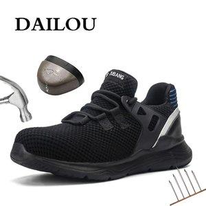 DAILOU Hommes Chaussures de sécurité avec des bottes de travail Shoe Indestructible avec des chaussures imperméables de travail Chaussures de sport respirant Toe acier