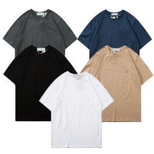 Klasik Küçük cebi Yama Pamuk Kısa kollu Mürettebat boyun moda Basit Yabani Yarısı Carhat tişört 2020ss Japon tarzı yeni stil sleeve