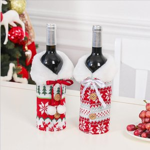 BOTELLA de la botella de vino de Navidad cubierta arco Elk Con El Copo de punto ropa de Navidad Botella de vino Bolsa de Navidad decoración del ornamento LSK1132