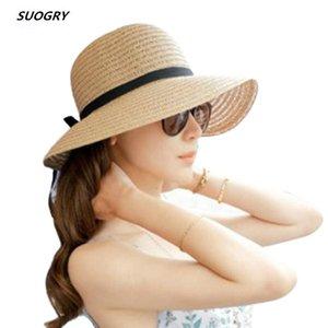 Mode Schöne Erwachsene Kappe Bogen Stroh-Sommer-Strand-Mädchen caHat Sun Hüte für Frauen Kentucky Derby Hut