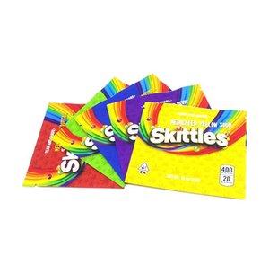Boş Gökkuşağı Mylar Sakızlı Fermuar Starburst Çanta Şeker Ekşi İlaçlı 400mg Gökkuşağı Skittles gummies Edibles yxlpD MMJ2010 boşaltın Packaging