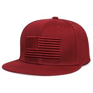 American Flags Stickerei-Baseball-Cap Adjustable Sunscreen Unisex Hip Hop Snapback Cap Anpassbare Cotton Street Dance Hats VT1563