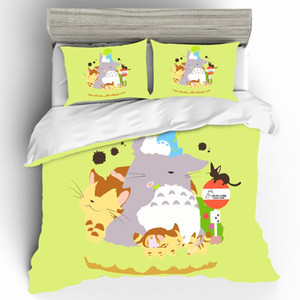 Lovely Cartoon Totoro Duvets And Linen Sets Bed Linen Set Anime King Size Bedding Set Bed Sheets and Pillowcases Home Textiles