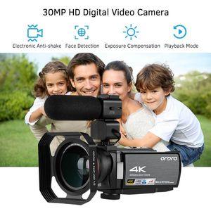 "ORDRO HDV-AE8 30MP 4K WiFi Digital Video Camera Camcorder DV Recorder 3""IPS LCD Touchscreen 0.39X Wide Angle Lens+Mic Lens Hood"