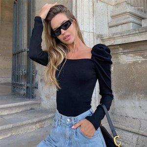 Womens Tshirts Sexy Vintage Womens Tshirts Slim Long Puff Sleeved Square Neck Pullover Thin Short Tshirts Fashion