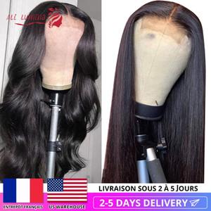 Человеческие парики волос Парик Закрытие Pre щипковых монгольской Straight с волосами младенца парик шнурка 30 дюймов Объемная волна быстро США