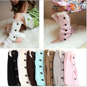 Winter Warm Knit Wool Leg Sleeve Knee High Socks Kids Boot Cuffs Foot Warmer Girls Long Lace Stockings Button Lace Booties Sleeves E9103