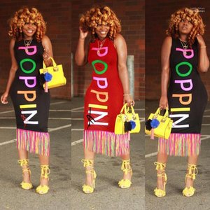 Letters Designer Women Dress Summer Tank Bodycon Dresses Rainbow Printed POPPIN