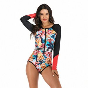 Women One Piece Swimsuits Front Zipper Print Rash Guards Beach Bodysuits Surfing Diving Swimwear Swimming Plus Size Bathing Suit WgZs#