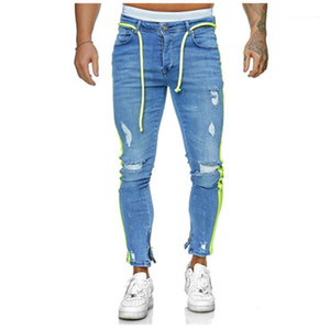 Denim Trousers Clothing Designer Male Casual Long Pencil Pants Man Slim Ripped Jeans Fashion Spring New Stripe Blue Elastic Zipper Street
