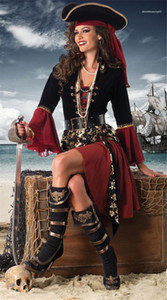 Skull Print Ladies Cosplay Clothes The Pirates Theme Costume Designer Halloween And Funny Dress Party Womens Dresses