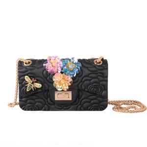 New Fashion luxury sheep skin embossed camellia flower 3d classic sling shoulder bags frosted candy gel silicone handbags for women ladies
