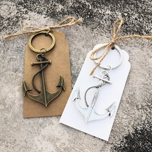 50pcs Custom Wedding Favors Party Gifts Birthday Gifts Ocean sailing boat Anchor Key chain with Personalized Thank you