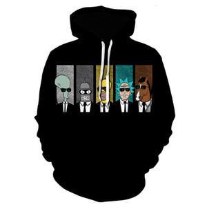 New Winter Hoodie Men Women Rick Printing 3D Sweatshirt Casual Harajuku Cartoon Funny Long-Sleeved Black Clothes