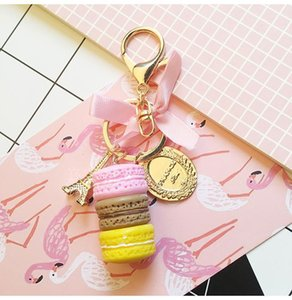 Korea Creative Macarons Cake Colorful Gradient Ramp Eiffel Tower Keychain Car&Bag Accessory For Women Birthday gift Party