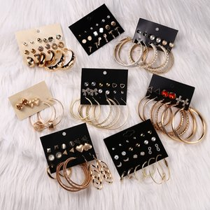 Luokey Statement Hoop Earrings Set For Women Luxury Fashion Gold Round Circle Big Earrings Pendientes Mujer Wedding Jewelry Gift