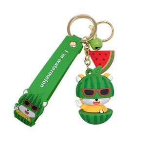 Creative Lovely Keychain Animal Fruit Theme Key Chains PVC Soft Plastic Youth Bags Car Pendant Accessories Small Gift Key Ring