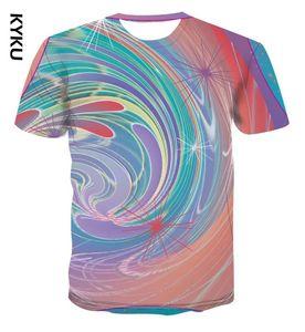 KYKU new 3D t-shirt men's summer T-shirt 3D printing short sleeve rainbow with street style men's s s-6xl