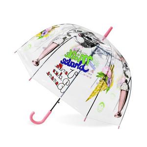 Cor Arco-íris transparente Film Dropshipping Umbrella Laser Crianças Crianças chuva chuvas Guarda-chuvas Crianças Laser Unicorn Alterar sqcqWR