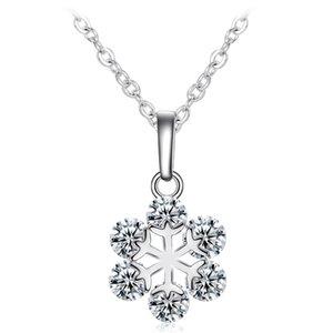 Flower Shaped Necklace Zircon Crystal Pendant Sliver Necklaces for Female Fine Snowflake Diamond Rhinestone Stone Pendants Women Jewelry