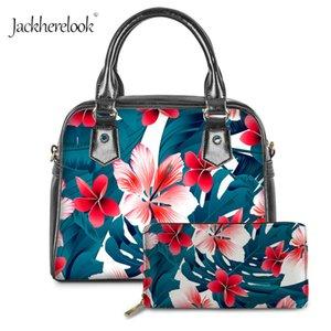 Jackherelook Ladies Verão Grande capacidade diária Tote Bolsas meninas Hawaiian Tropical Flowers Padrão Femme Bandoleira Sacos Sets