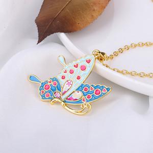 Красочные ожерелье бабочки Эмаль Собака Кошка Животное Подвеска Ожерелье для женщин Девочка ожерелья ювелирных подарков Long Chain