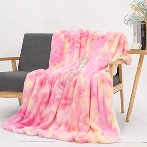 Jetez flanelle Couvertures Tie Dye Sherpa Blanket Enfants Adultes Place Quilt souple double peluche canapé Épaississement Couvre-lits Fournitures Literie D9804