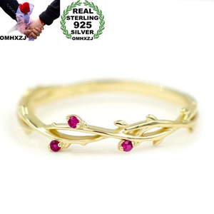 OMHXZJ Wholesale European Fashion Woman Girl Party Wedding Gift Red Zircon 925 Sterling Silver 18KT Yellow Gold Ring RR386
