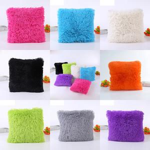 Super Soft Plush Square Pillow Case Solid Waist Throw Cushion Cover Cases DIY Car Sofa Home Decorative Pillow Cover 14 Colors