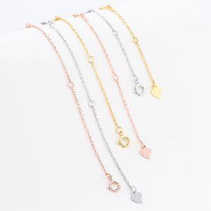 Gümüş Zincir Bileklik Kolye uzatılmıştır Uzatma Zincir Kuyruk Gümüş Ayarlanabilir Zincir Parçaları Uzatma Kaplama K Rose Gold