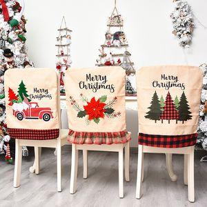 Weihnachts Hussen Weihnachtsmann Abdeckung Dinner Stuhl zurück Covers Stühle Cap Weihnachtsweihnachts Startseite Bankett Hochzeitsdeko FFA4436 gedruckt