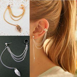 Earrings Jewelry Fashion Personality Metal Ear Clip Leaf Tassel Earrings For Women Gift Pendientes Ear Cuff Caught In Cuffs