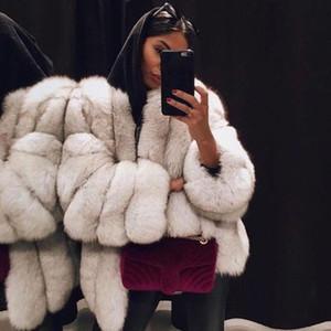 Artı boyutu Palto Kadınlar Sahte Kürk Palto Moda Ladies Open Dikiş Tam Kürk Ceket Moda Şık Patchwork Sahte