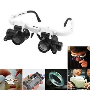 New Lunettes Loupe Loupe Réparation de montre à double bijoux yeux Loupe objectif avec des outils de réparation de montres LED d'éclairage # 38