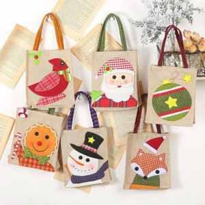Top Sale New Year Linen Santa Claus Snowman Candy Gift Bags Cookie Packaging Bags Party Handbag Merry Christmas Storage Package