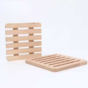 Square Wood Placemats Coasters Hollow Wooden Heat Resistant Drink Mat Table Tea Coffee Cup Pad Non-slip Cup Mat Insulation Pad DBC BH4089