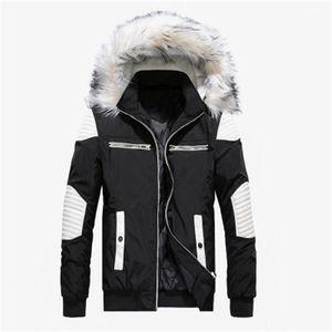 Collier Mode Outdoor capuche Doudoune Homme Designer Zipper Lapel Neck Thicken Manteaux amovible Chapeau-vêtement Hommes Manteau de fourrure avec Big
