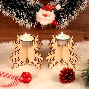 4pcs Candeliere Blocco di legno DIY Titolare del fiocco di neve Candela di natale sposa appartamenti vacanze della decorazione Ornamenti