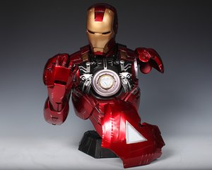 [Funny] 41cm Iron Man 1:2 MK6 Head bust Portrait With LED Light GK Action Figure statue Collectible Model home decorations gift