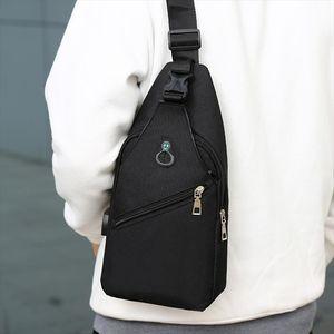 Multi pocket Men Cross body Chest Bags Solid Color chest pack USB Charging Headphone Plug Single Shoulder Messenger Bag Totes