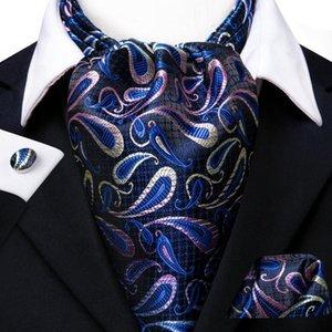 Hallo-Tie Luxus Paisley Krawatte für Männer Einstecktuch Manschettenknöpfe und Ascot Schal Tie neue Art und Weise Männer beiläufige Ascot Krawatte Krawatte im Set