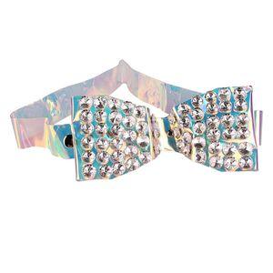Blingbling Rhinestone Big Bow PVC Waist Belt Womern Plastic Transparent Holographic Waistband Fashion Dress Coat Belt Decoration